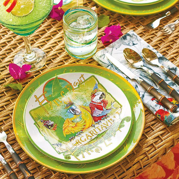 Margaritaville Fins Right Fins Left Melamine Dinner Plates Set of Four  sc 1 st  Frontgate & Margaritaville Fins Right Fins Left Melamine Dinnerware | Frontgate
