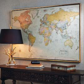 World magnetic travel map with burlwood frame frontgate heirloom antiqued linen map gumiabroncs Images