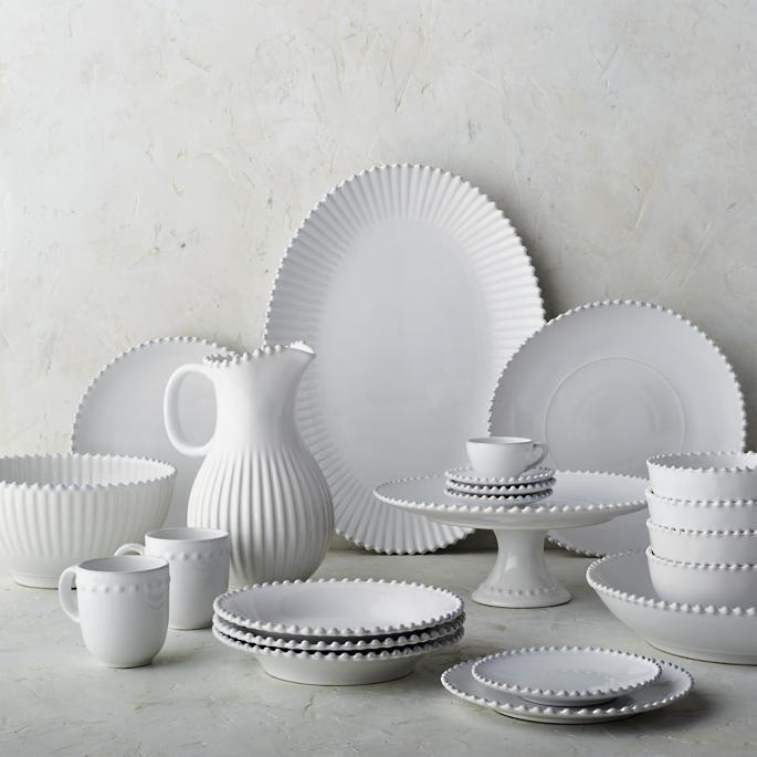 Costa Nova Pearl Chargers in White Set of Two & Costa Nova Pearl Dinnerware in White | Frontgate