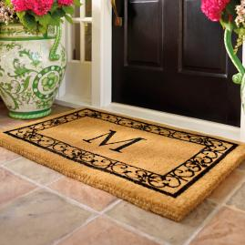 Hanna Scroll Border Monogrammed Entry Mat Frontgate
