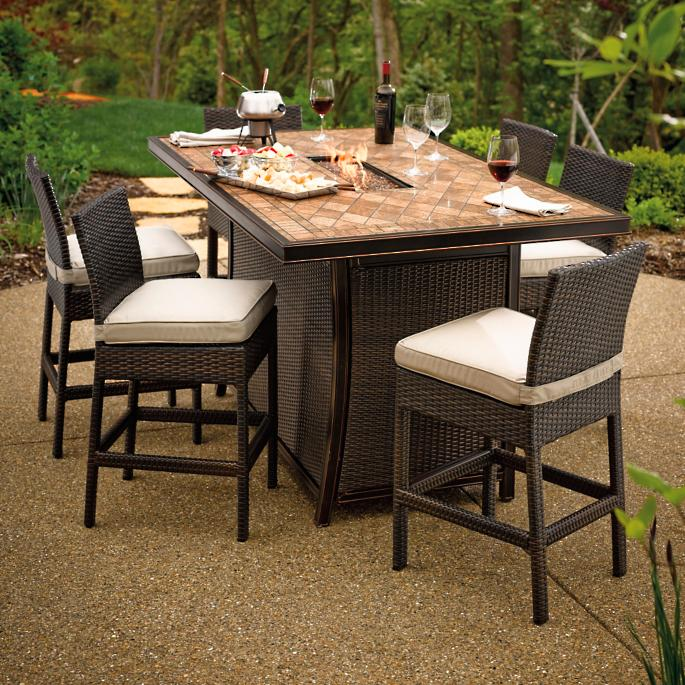 Palermo counter height fire table set frontgate for Global outdoors fire table