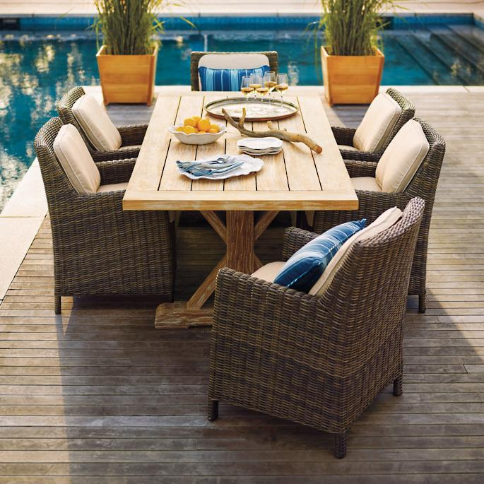 Hyde Park 7-pc. Washed Teak Table Dining Set in Ocean Grey Finish - Hyde Park Dining In Ocean Grey Finish Frontgate