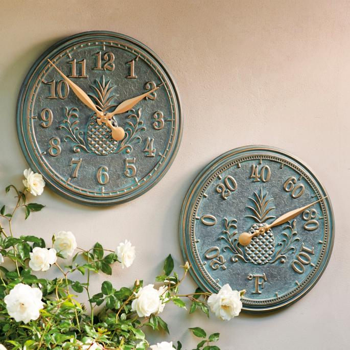 Classic Pineapple Clock And Thermometer Frontgate