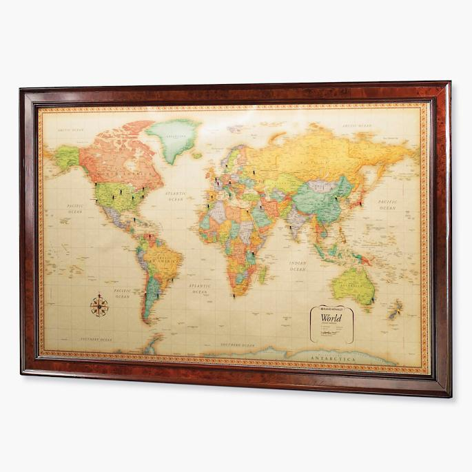 World magnetic travel map with burlwood frame frontgate world magnetic travel map with burlwood frame gumiabroncs Choice Image