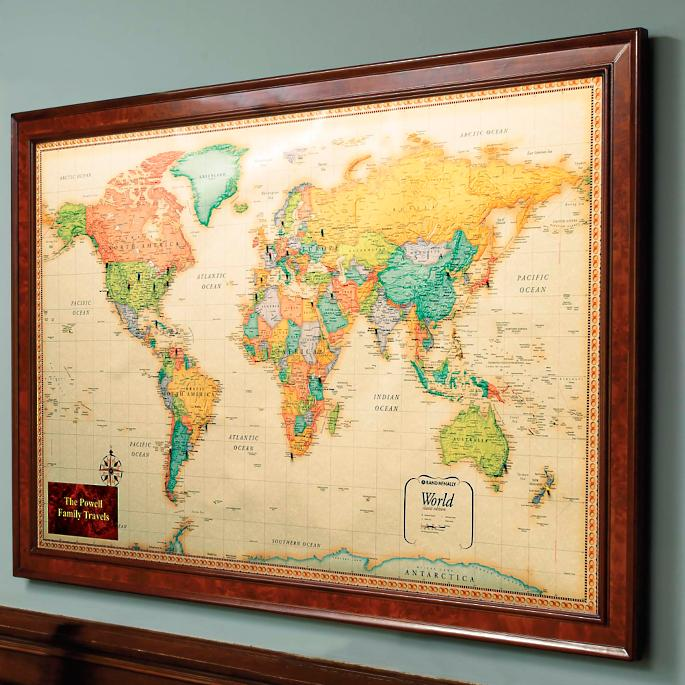 Magnetic travel maps frontgate world magnetic travel map with burlwood frame gumiabroncs Gallery